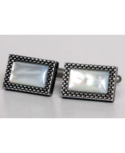 BLACKSMITHH CUFFLINKS - Gently Textured And Shaped Brushed Plated Cufflink Inlaid With A Large And Precisely Cut Lozenge Of Mother Of Pearl.