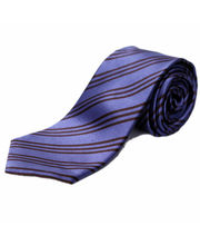 BLACKSMITHH TIES - DENIM BLUE AND BROWN STRIPES