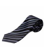 BLACKSMITHH TIES - BLACK AND SKY BLUE ALL OVER STRIPES