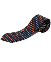 BLACKSMITHH TIES - RUST AND SKY BLUE BLOCKS ALL OVER DESIGN