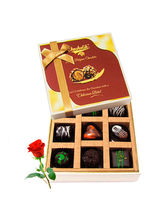 Lovable Choco Treat With Red Rose - Chocholik Luxu...