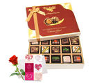 Elegant Treat Of Pralines Chocolates With Love Card And Rose - Chocholik Belgium Chocolates