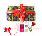 Great Truffles Collection With Love Card And Rose - Chocholik Luxury Chocolates