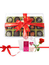 Great Truffles Collection With Love Card And Rose ...