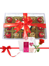 Beautiful Wrapped Chocolates With Love Card And Ro...