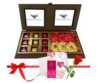Nicely Wrapped Chocolates And Truffles With Love Card And Rose - Chocholik Premium Gifts