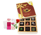 Lovable Moments With Dark Chocolate With Love Card And Rose - Chocholik Luxury Chocolates