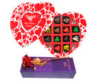 Fancy & Perfect Heart Chocolate Box With Red Golden Rose - Chocholik Belgium Chocolates