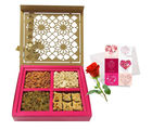 Unique Treat Of Dry Fruits And Baklava With Love Card And Rose - Chocholik Premium Gifts