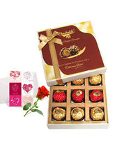 Mesmerizing Chocolates With Love Card And Rose - C...