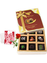 Decadent Dark Chocolate Box With Love Card And Ros...