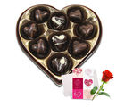 Alluring Selection Of Chocolates Box With Love Card And Rose - Chocholik Belgium Chocolates