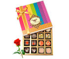 Sweet Collection Of Dark And White Truffles And Chocolate Box With Red Rose - Chocholik Belgium Chocolates