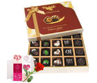 Luxurious Collection Of Dark And Milk Chocolate Box With Love Card And Rose - Chocholik Belgium Chocolates