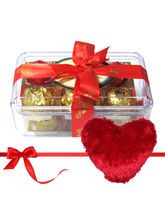 Savory Treat Of Yummy Chocolates With Heart Pillow...