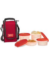 Milton Full Meal 4 Containers Lunch Box - Red Color, red