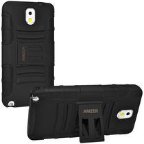Amzer 96323 Hybrid Kickstand Case   Black/ Black for Samsung GALAXY Note 3 SM N9000, Samsung GALAXY Note 3 SM N9005, Samsung GALAXY Note 3 SM N900