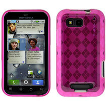 Amzer 89789 Luxe Argyle High Gloss TPU Soft Gel Skin Case   Hot Pink for Motorola DEFY Plus, Motorola DEFY MB525