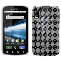 Amzer 90527 Luxe Argyle High Gloss TPU Soft Gel Skin Case   Clear for Motorola ATRIX MB860