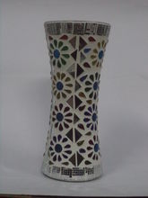 Bloom flower vase decorative with colourful stone and mirrors (hand made), white