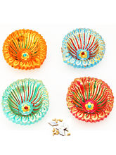 Ghasitaram Set Of Four Colourful Diyas, Only