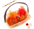 Ghasitaram Gifts Golden Mesh Handle Basket With Chocolates And Almonds -R1