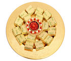 Ghasitaram Diwali Hampers-Golden Self Design Tray With T-Lite And Chocolates