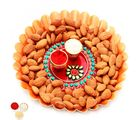 Ghasitaram Bhaidooj Orange Metal Thali with Pooja Thali and Almonds