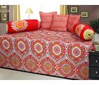 AB Home Decor 100% Cotton Beautiful Diwan Sets AT210 ( Set Of 6 Pieces), multicolor