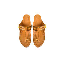 Yellow Leather Kolhapuri Chappal, 9