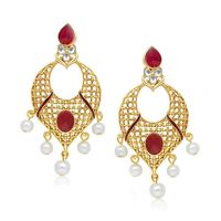 Kriaa Gold Plated Meenakari Kundan Pearl Drop Earrings