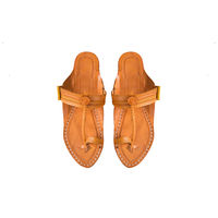 Yellow Leather Kolhapuri Chappal, 8