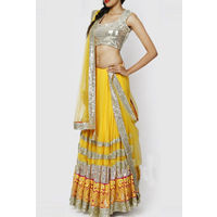 Yellow Georgette Lehenga With Sequines Blouse