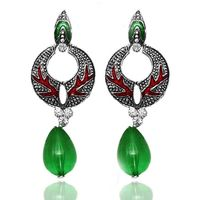 Kriaa Green Antique Silver Meenakari Drop Earrings