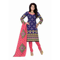 Bandhej Print Cotton Dress Material in Blue and Pink