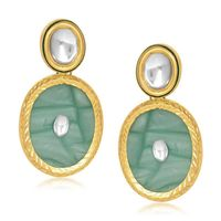 Kriaa Kundan Resin Oval Gold Finish Sea Green Earrings