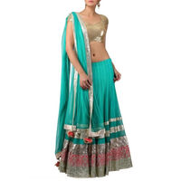Sky Blue Net Lehenga With Sequines Blouse