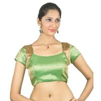 Parrot green Ready Made Stitched padded Blouse with patterned armhole, 40