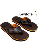 Levitate Men Flip Flop (LVTFF3016), dark brown and orange, 9