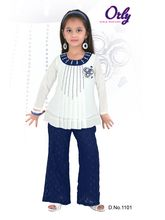 Orly Girls Party wear Palazzo & TopSet, white and blue, 4 - 5 years