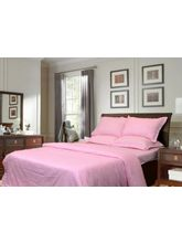 Sateen Stripes Duvet Set, Baby Pink