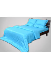 Sateen Stripes Duvet Cover - Single, Turquoise