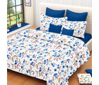 Welhouse India Floral Cotton Double Bed Sheet with 2 Pillow Cover (MT_ MO-56), white