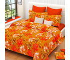 Welhouse India Floral Cotton Double Bed Sheet with 2 Pillow Cover (MT_ MO-07), yellow