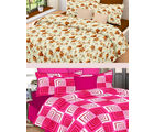 Welhouse India Combo of 2 Cotton Double Bed Sheet with 4 Pillow Covers - TC-250 (MTMOC248)