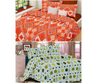 Welhouse India Combo of 2 Cotton Double Bed Sheet with 4 Pillow Covers - TC-250 (MTMOC232)