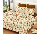 Welhouse India Floral Cotton Double Bed Sheet with 2 Pillow Cover (MT_ MO-73), white