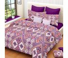 Welhouse India Graphical Cotton Double Bed Sheet with 2 Pillow Cover (MT_ MO-11), purple
