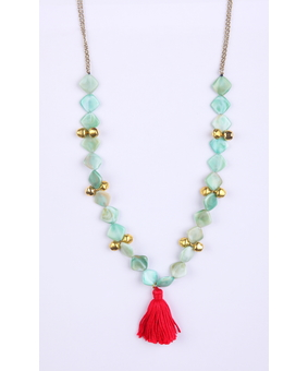 Micare Bead and Tassel, green