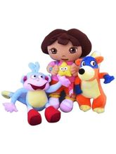 Kuhu Creations Dora 3Pcs Set The Explorer Plush Bo...